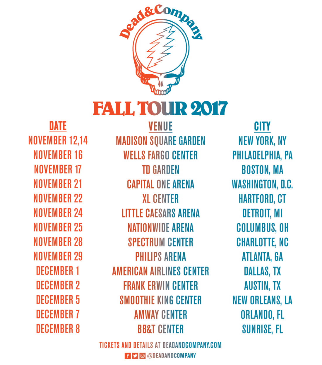 Dead And Company Tour 2017 Dates : dead company just announced their fall 2017 tour with a stop at columbus nationwide arena ~ Hamham.info Haus und Dekorationen