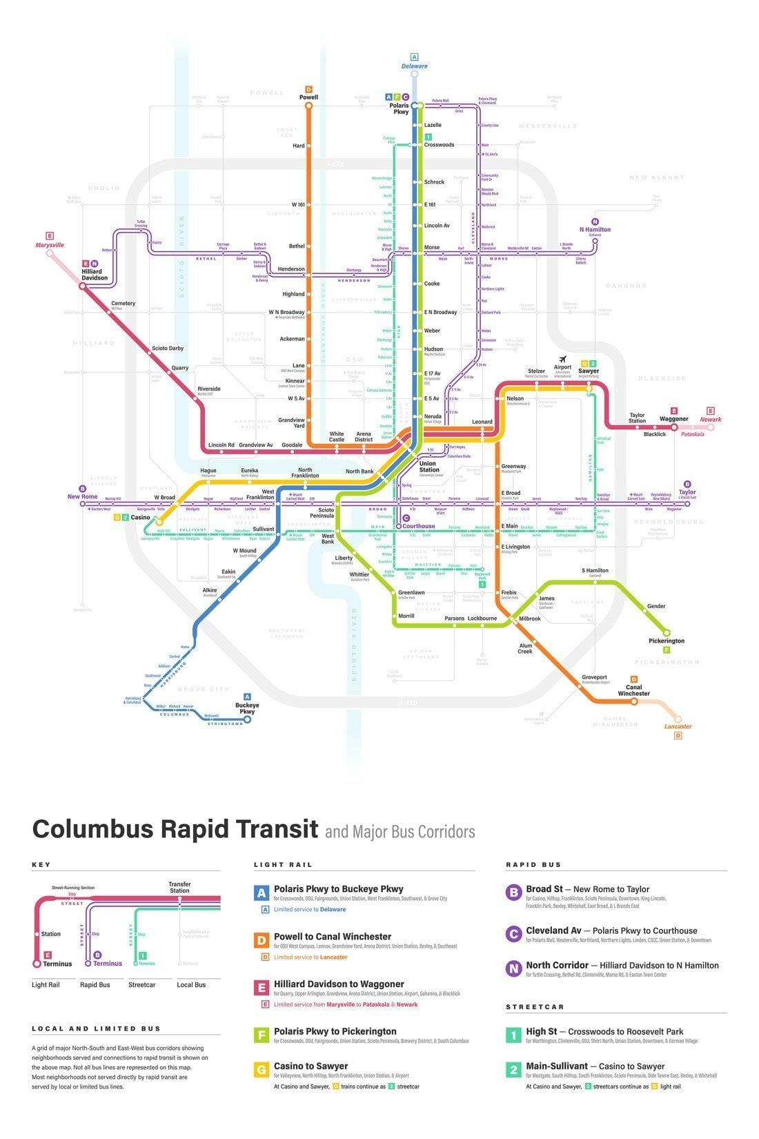 Columbus fantasy transit map