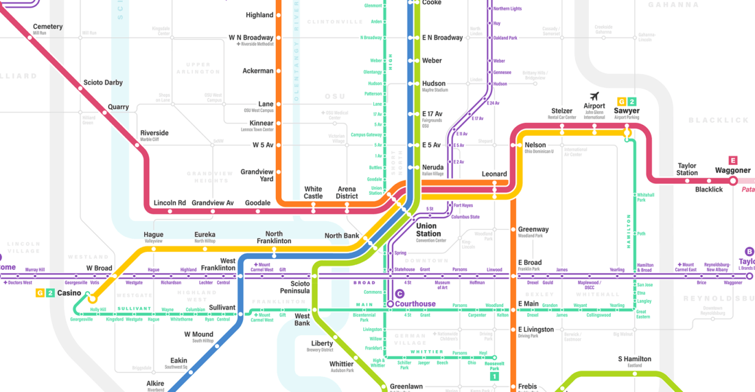 The Fantasy Columbus Transit Map Has Been Updated And It's ... on wilmington international airport map, franklin county map, the atlanta map, canal winchester map, polk county map, hampton roads map, indianapolis map, clason point map, ohio map, allenhurst map, fields corner east map, bob evans restaurants map, chattahoochee river map, cincinnati map, united states map, dayton map, columbian exchange map, world map, cutler map, oklahoma city map,