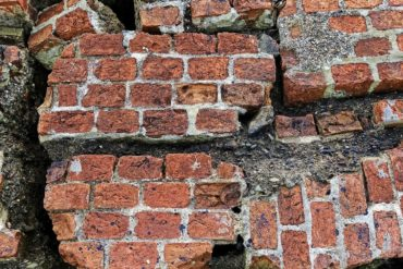 Bricks destroyed by earthquakes
