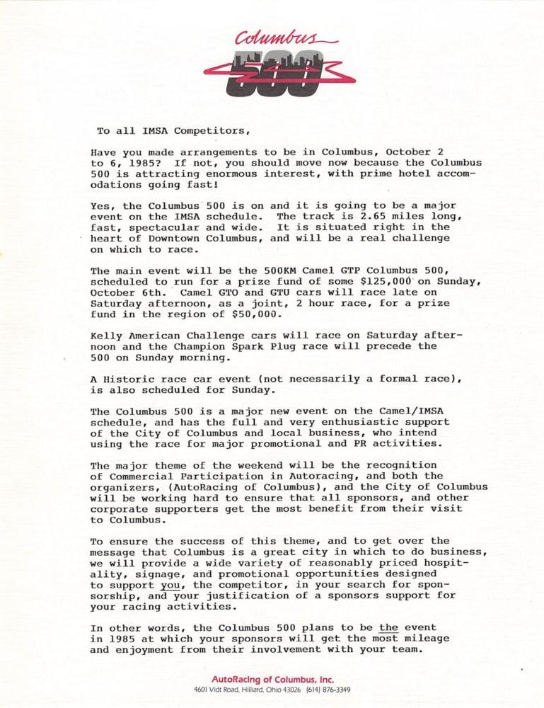 Columbus 500 promotional letter